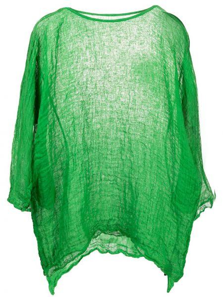 С рукавами зеленый асимметричный топ с вырезом Daniela Gregis