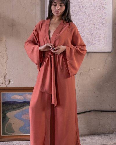Шелковый халат - красный Forli