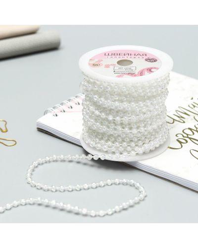 Ожерелье с жемчугом круглое арт узор