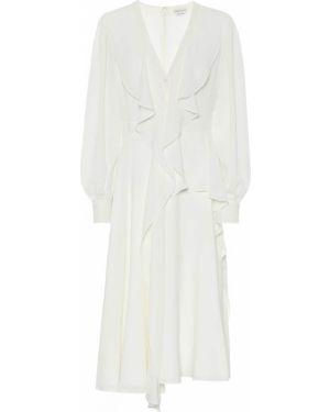Платье шелковое с оборками Alexander Mcqueen