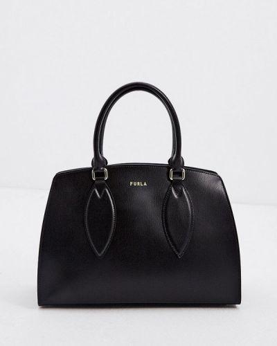 Черная кожаная сумка из натуральной кожи Furla