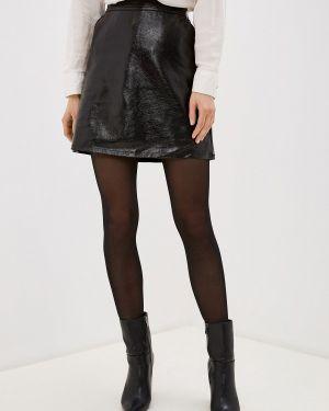 Кожаная юбка черная Only