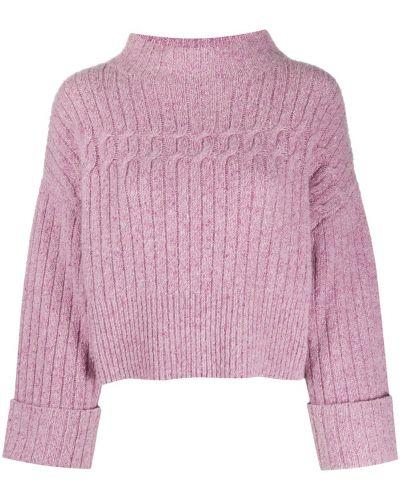 Кашемировый фиолетовый джемпер свободного кроя с круглым вырезом Temperley London
