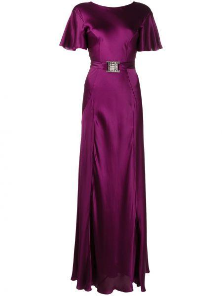 Шелковое фиолетовое прямое приталенное платье макси Alberta Ferretti