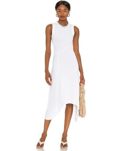 Асимметричное кожаное белое платье Allsaints