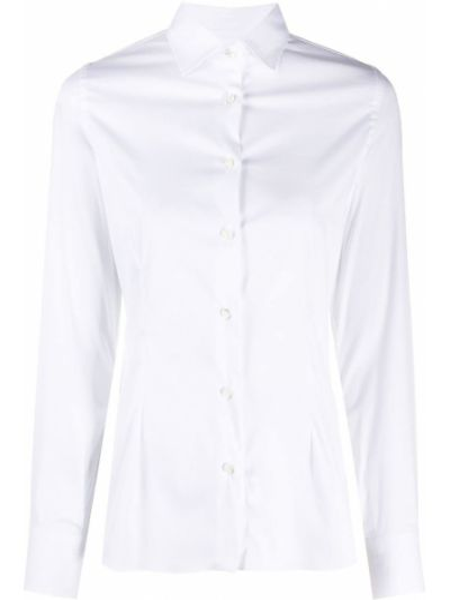 Белая приталенная классическая рубашка с воротником с длинными рукавами Barba