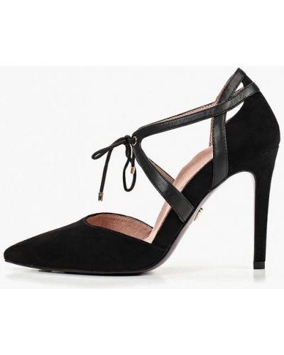 Туфли на каблуке черные замшевые Heart & Sole By Tamaris