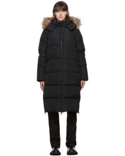 Пуховое черное длинное пальто с капюшоном Mackage