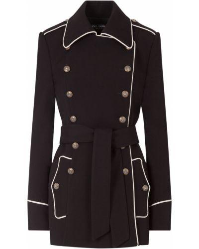 Шерстяной черный бушлат двубортный Dolce & Gabbana