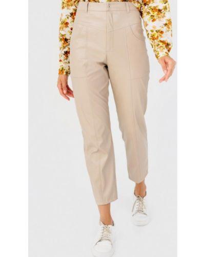 Бежевые кожаные брюки Bessa