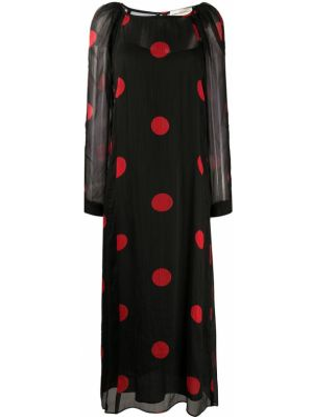 Черное платье миди на пуговицах с вырезом круглое Mara Hoffman
