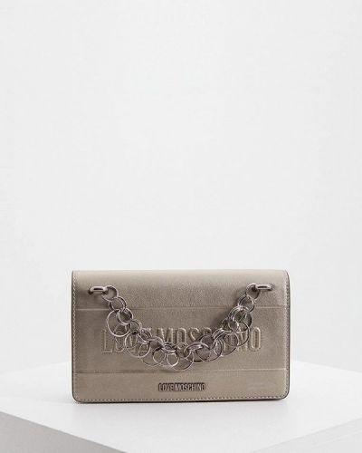 Кожаная сумка через плечо серая Love Moschino