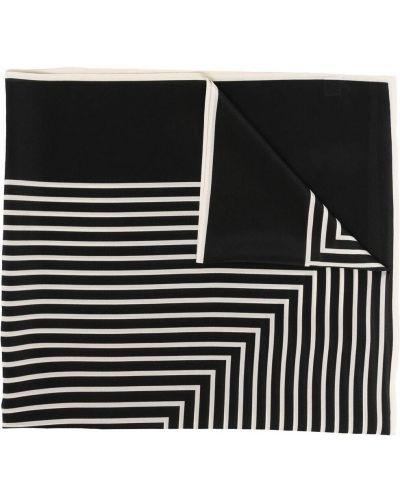 Czarny szalik z jedwabiu z printem Toteme