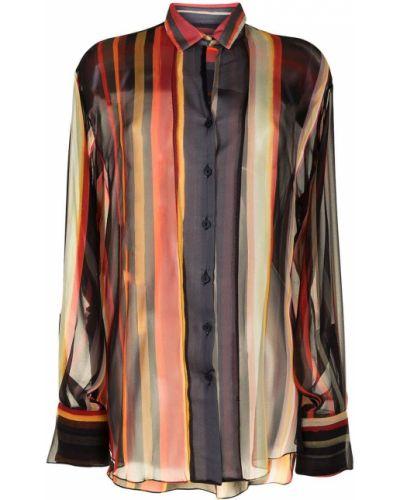 Шелковая длинная рубашка в полоску на пуговицах Christopher Esber