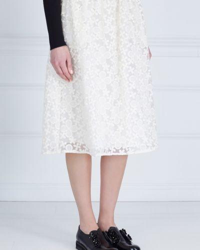Хлопковая белая юбка миди с вышивкой Edit