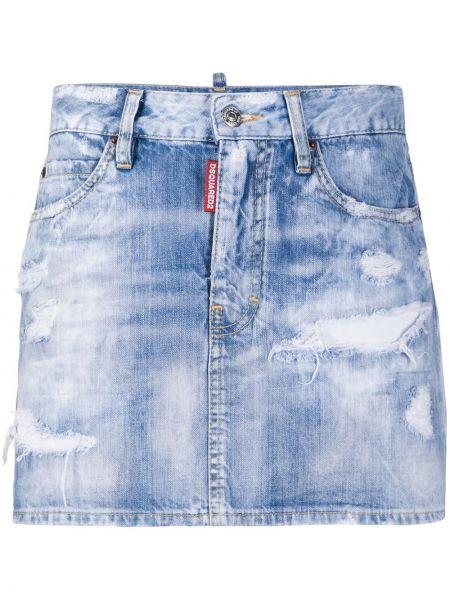 Синяя плиссированная кожаная юбка мини Dsquared2