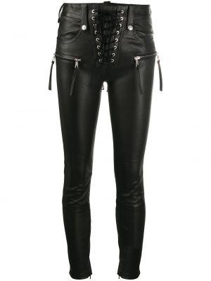 Облегающие кожаные черные укороченные брюки Unravel Project