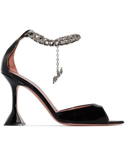 Лаковые черные кожаные сандалии Amina Muaddi