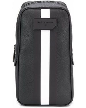 Кожаная мерцающая черная сумка через плечо с нашивками Bally