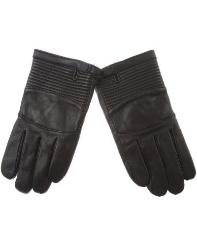 Czarne rękawiczki skorzane pikowane Armani Exchange