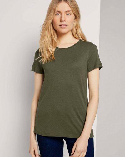 Зеленая с рукавами футболка Tom Tailor