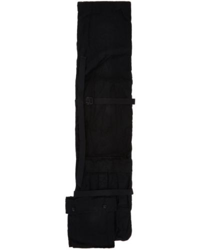 Wełniany czarny szalik prążkowany prostokątny Sacai
