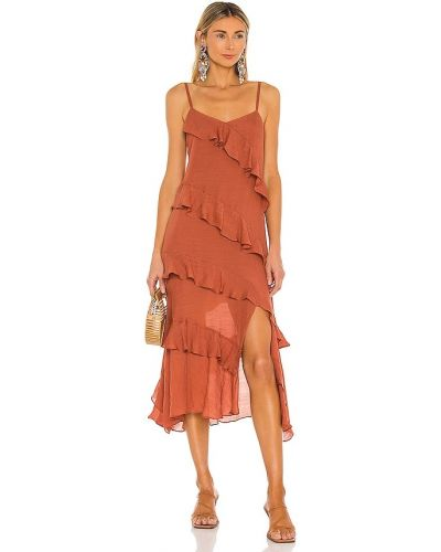 Льняное платье миди бохо в полоску Minkpink