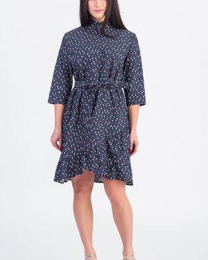 Платье с поясом на молнии синее Lacywear