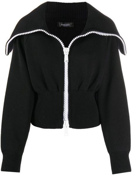 Шерстяное черное длинное пальто на молнии Versace