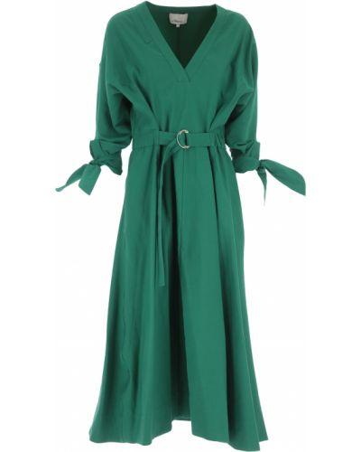 Zielona sukienka wieczorowa bawełniana z dekoltem w serek 1. Phillip Lim