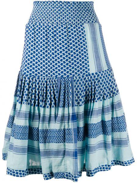 С орнаментом юбка миди с оборками со складками золотая Cecilie Copenhagen