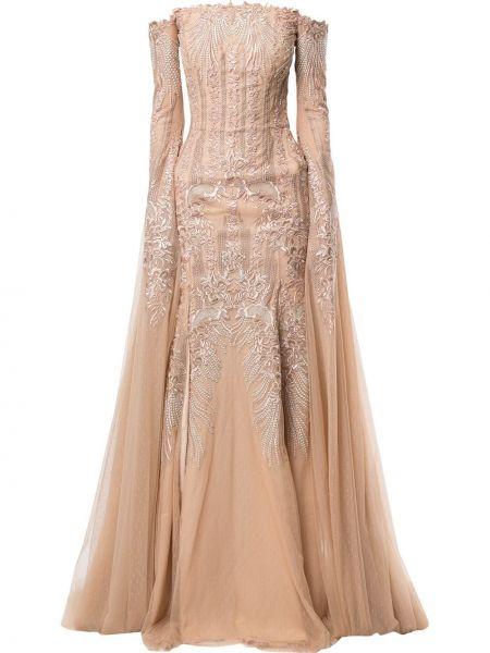 Вечернее платье на молнии с рукавами Saiid Kobeisy