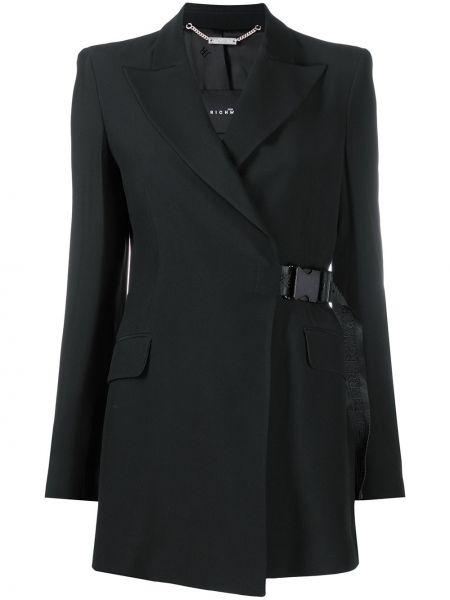 Черный удлиненный пиджак на пуговицах с лацканами John Richmond