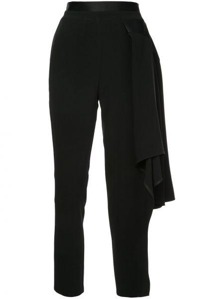 Укороченные брюки черные шелковые Valery Kovalska