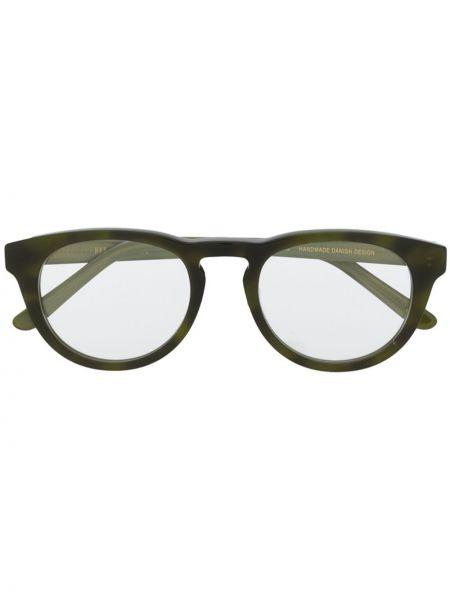 Прямые солнцезащитные очки круглые металлические хаки Han Kjøbenhavn