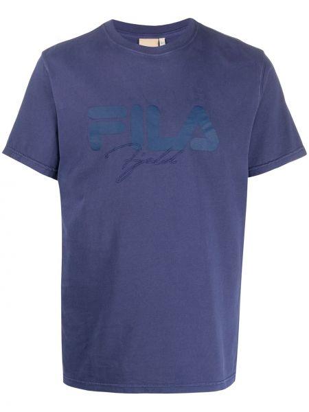 Niebieski t-shirt bawełniany z haftem Astrid Andersen