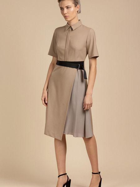 Платье с поясом на пуговицах со вставками Vassa&co
