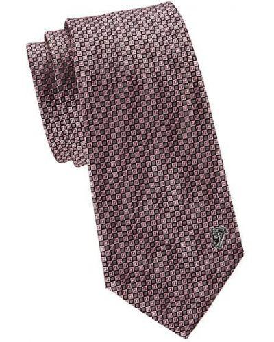Fioletowy klasyczny krawat z jedwabiu Versace Collection