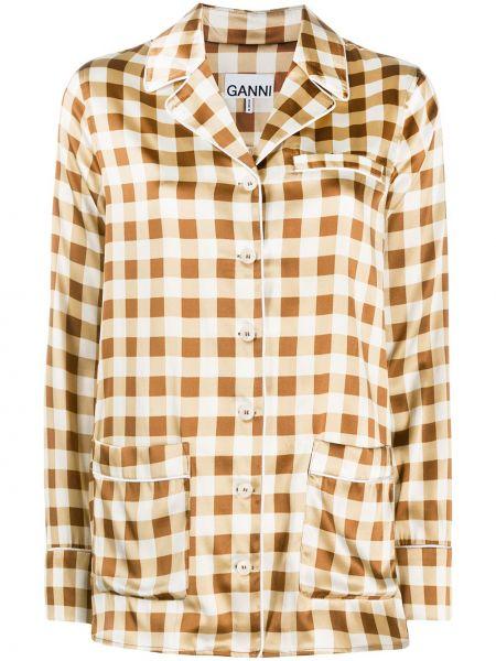 Jedwab koszula z kieszeniami Ganni