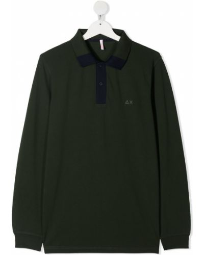 Зеленая с рукавами рубашка с воротником Sun 68