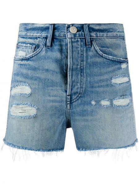 Белые джинсовые шорты со стразами с карманами с высокой посадкой 3x1