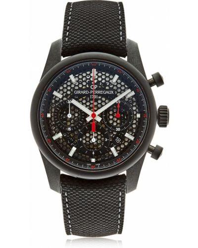 Czarny szwajcarski zegarek skórzany Girard-perregaux