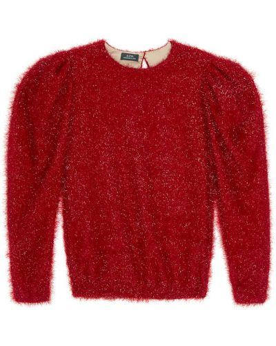 Красный с рукавами джемпер с вырезом Alena Akhmadullina
