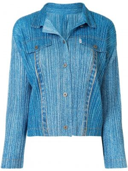 Niebieska koszula jeansowa z długimi rękawami Pleats Please Issey Miyake