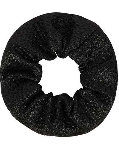 Czarna gumka do włosów materiałowa Ichi