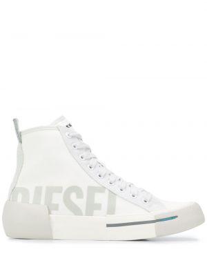 Белые высокие кеды на шнуровке Diesel