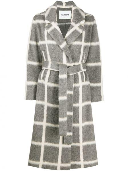 Серое шерстяное длинное пальто в клетку Ava Adore