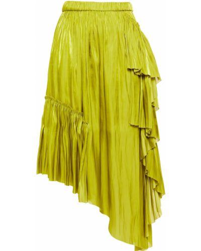 Satynowa zielona spódnica asymetryczna Marques Almeida