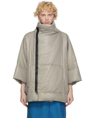 Теплая сатиновая черная длинная куртка с воротником 132 5. Issey Miyake