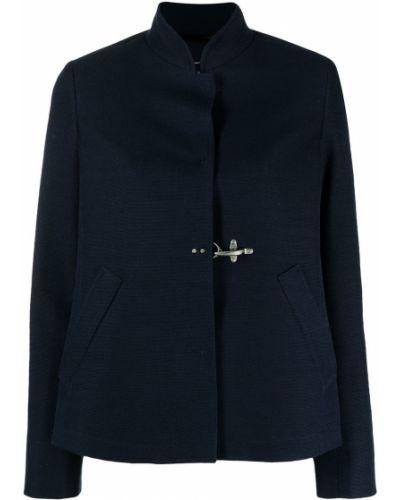 Однобортный синий удлиненный пиджак с воротником-стойка Fay